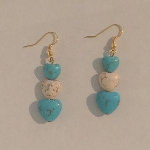 Turquoise puffed heart earrings. Handmade